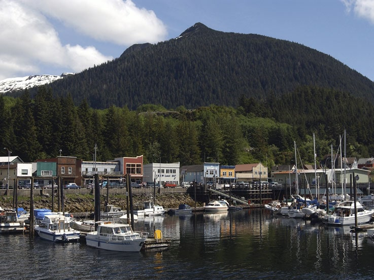 View of harbor in Ketchikan, Alaska