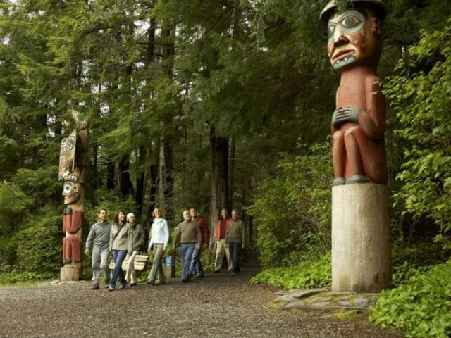 View totem pole carving at the Rainforest Sanctuary in Ketchikan, Alaska.