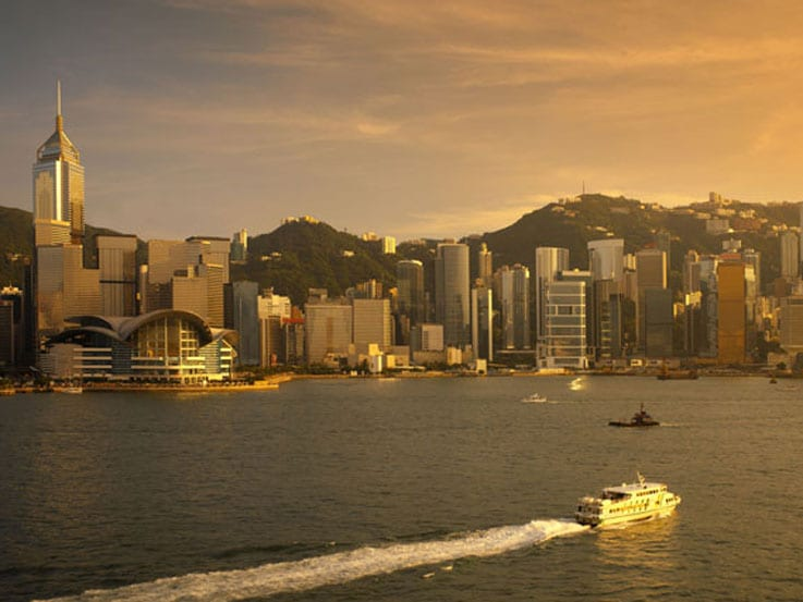 A view of Victoria Harbor in Hong Kong