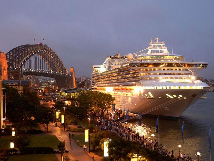 A Princess ship docked in Sydney Harbor