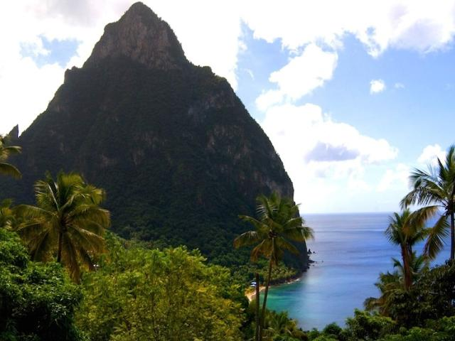 The Pitons are twin volcanic mountains located on the southwest side of St. Lucia.