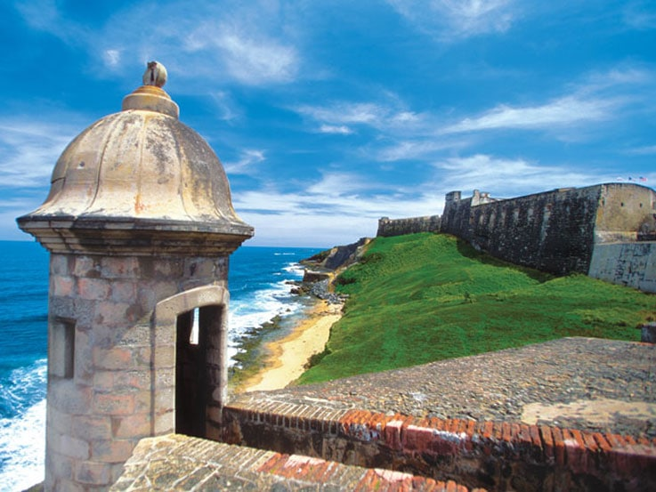 Lighthouse and fort in Old San Juan, Puerto Rico