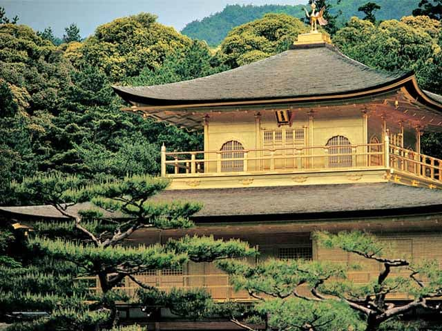 The Temple of the Golden Pavilion in Kyoto, Japan, is a gilded architectural marvel.