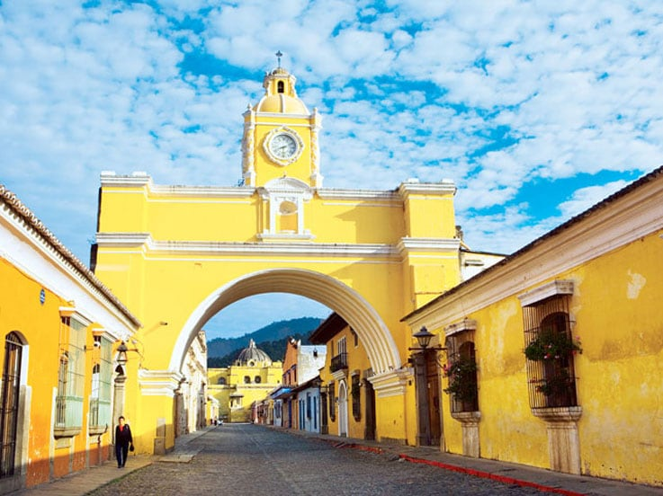 Yellow building in Colonial Antigua, Guatemala