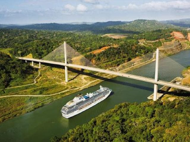 The Coral Princess on a Panama Canal cruise.
