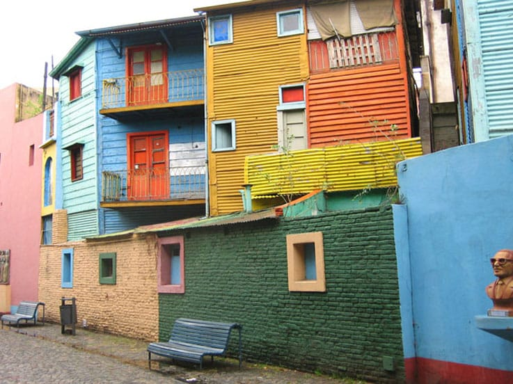 Street view of the colorful homes found in Buenos Aires, Argentina