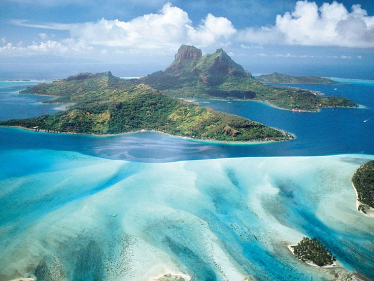 Aerial view of Bora Bora in South Pacific