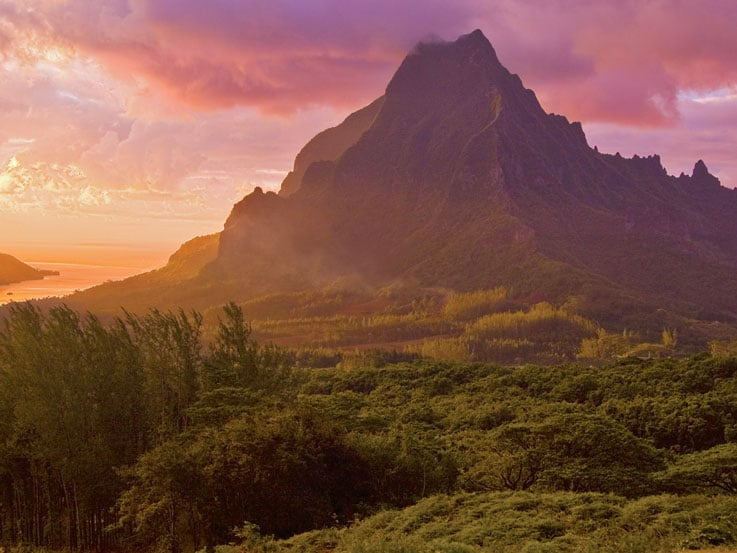 Mount Rotui at sunset, on the island of Moorea, French Polynesiaa