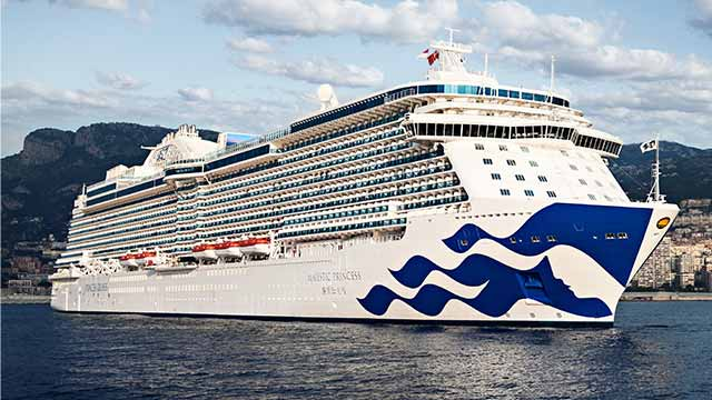 side view of Majestic Princess cruise ship at sea