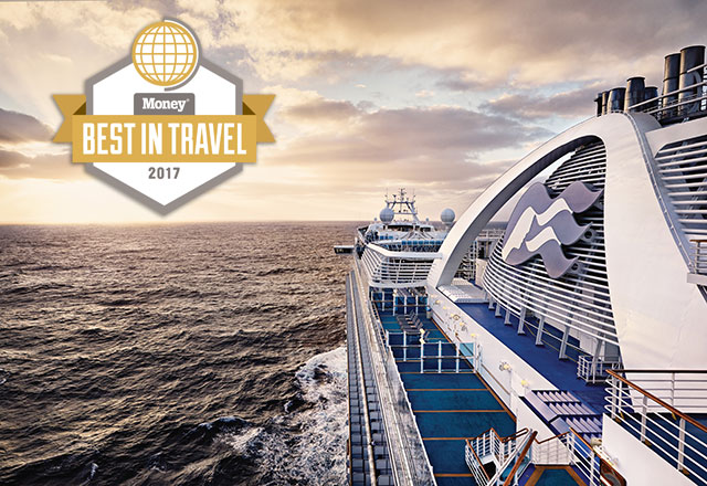 Money Best in Travel 2017 award, aerial view of a Princess Cruises ship at sea