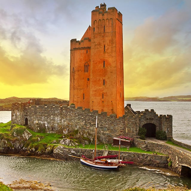 Kilcoe castle at sunset, Co. Cork, Ireland