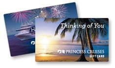 Thinking of You Princess Cruises gift card with palm trees on it