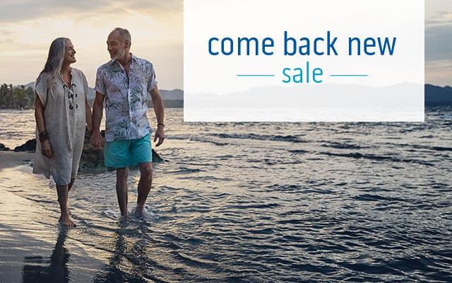 Come Back New Sale logo a couple walking in the beach