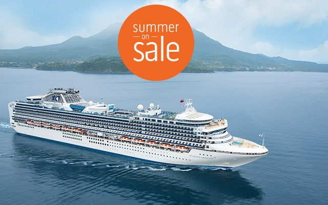 Summer on Sale logo. Ship at sea.