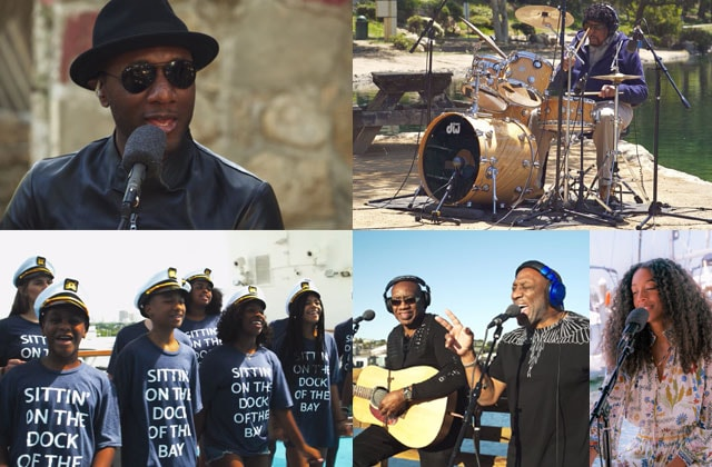 a mix of musicians and singers from the dock of the bay video