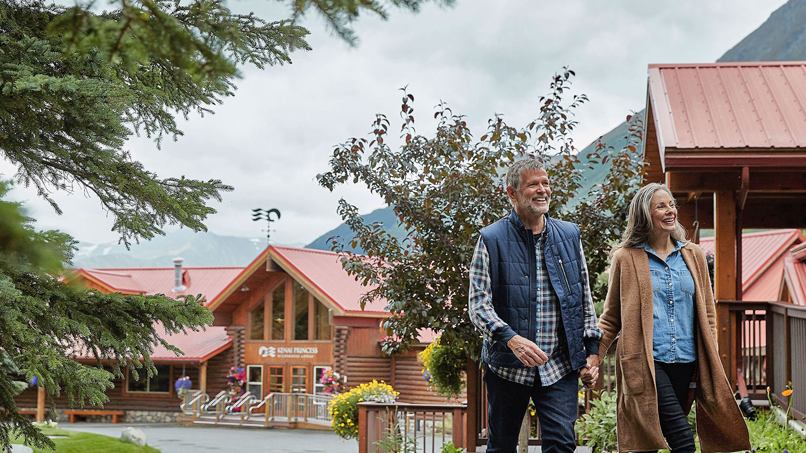 Guests walking the ground of Kenai Princess Wilderness Lodge
