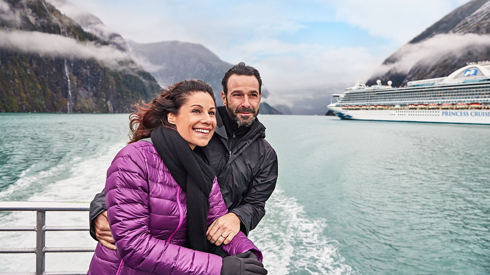 Couple on board an inside passage Alaska cruise from San Francisco