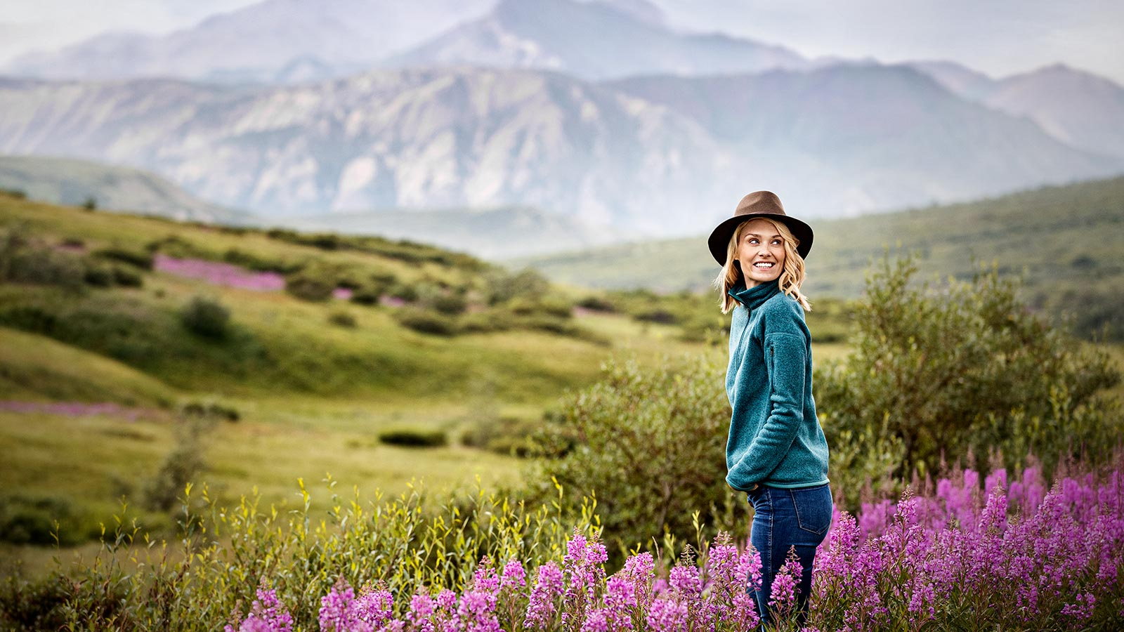 A woman enjoying the view of Denali National Park