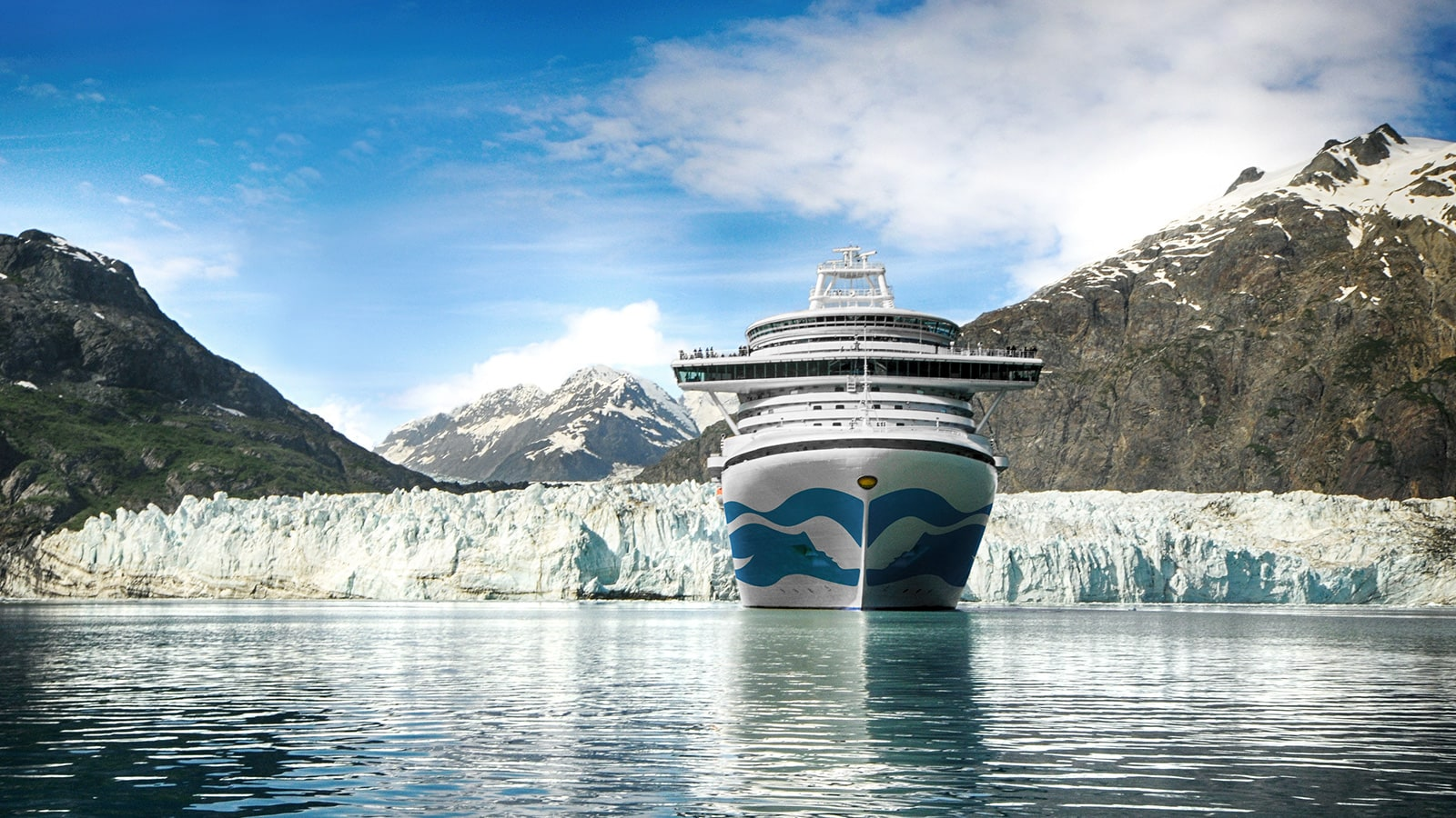 cruise ship on Alaska cruise with Margerie Glacier in the background