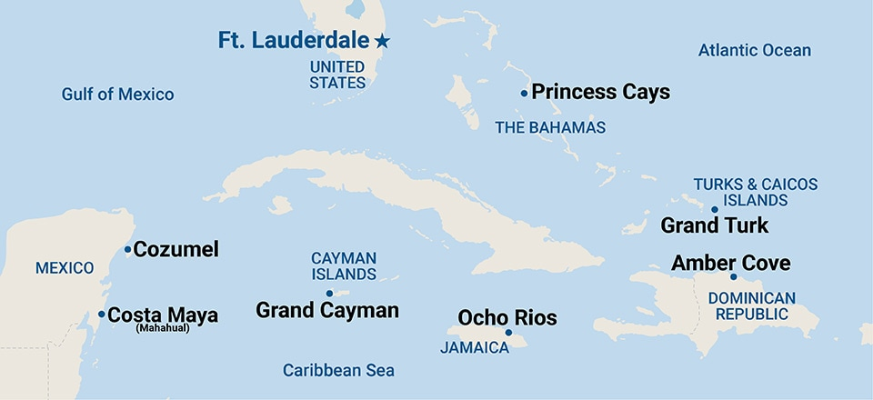 Caribbean Getaways Map – refer to the page below and the Cruise Details page for a list of port names