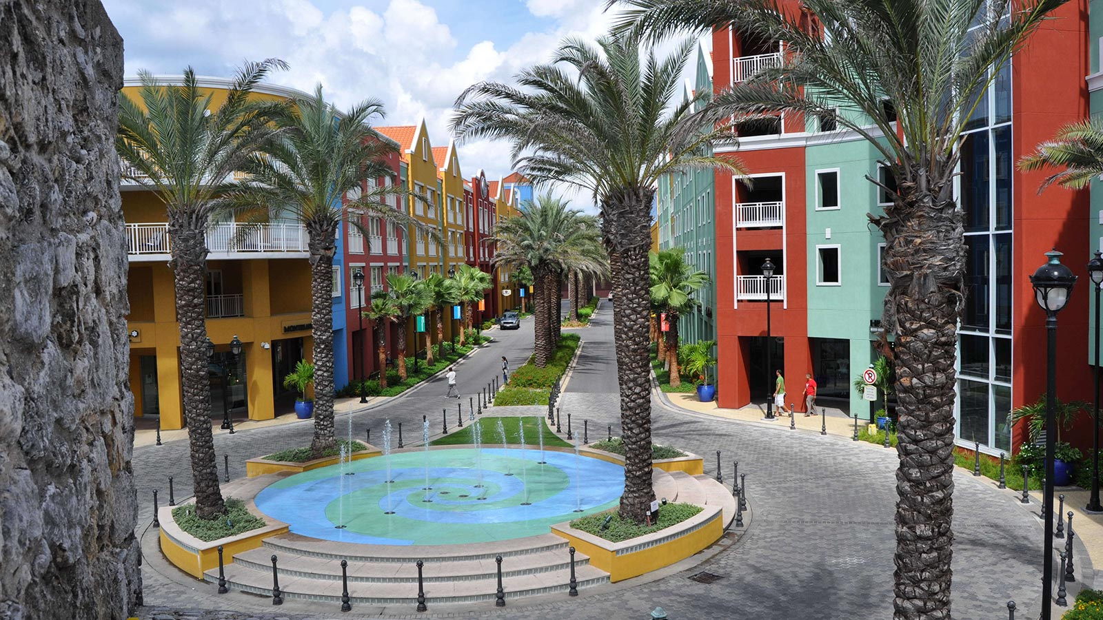 central plaza lined with colorful buildings