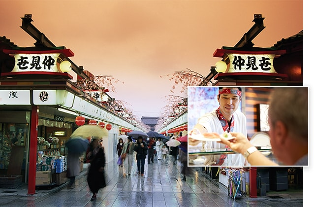 Market in Tokyo, Japan. Inset photo sushi chef. View cruisetours to Tokyo.