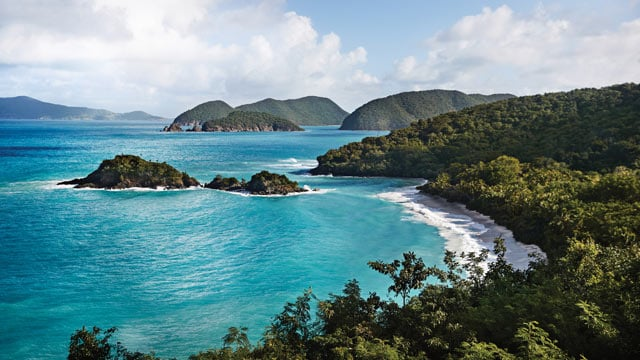 Aerial view of Trunk Bay in St. John, US Virgin Islands
