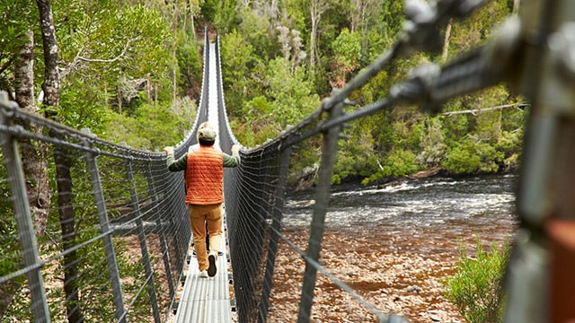bridge suspended over a river with man walking across it.