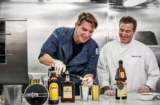 Rob Floyd and Norman Love collaborating on new chocolate cocktails.