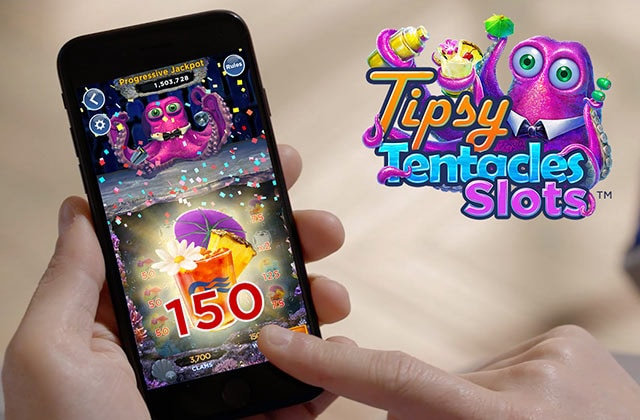 Tipsy Tentacles SlotsTM logo. hands holding a mobile device with slots game on the screen.