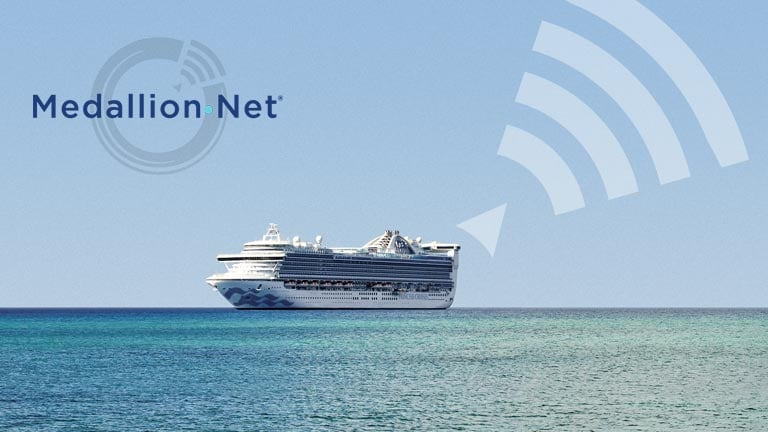 MedallionNet logo. Ship at sea, view of ocean from deck.