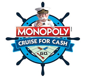 Monopoly guy in a ship steering wheel with the words monopoly cruise for cash