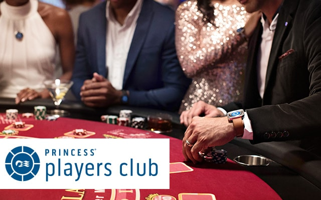 a group of people around a blackjack table with the words princess players club