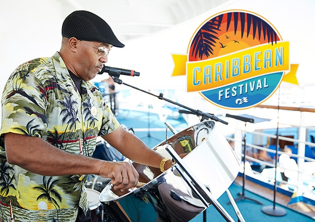 man playing the steel drum with the logo Caribbean Festival