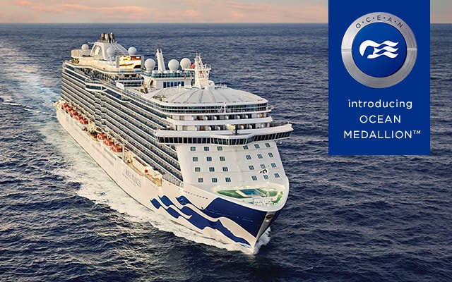 Ocean Medallion Class logo with blue background – front view of Regal Princess ship at sea