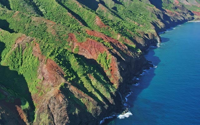 Aerial view of green mountain coast in Hawaii