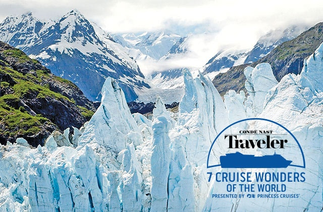 conde nast traveler, 7 cruise wonders of the world presented by princess crusies showing Alaska Glaciers
