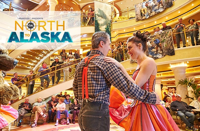 Princess presents North to Alaska, frontier dressed couple dancing in the ship pizzia