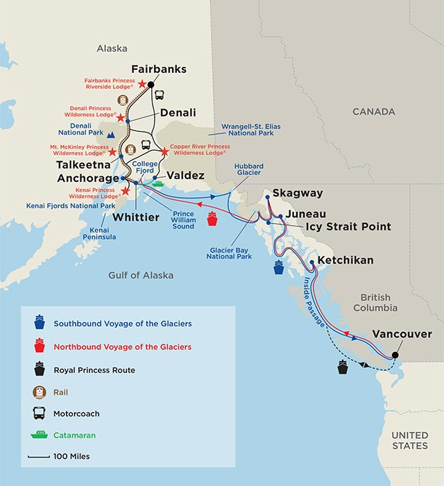 Alaska Cruisetours Map - Denali Explorer and On You Own