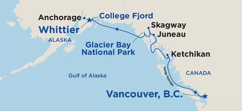 Map of cruise ports for cruises one-way from Vancouver