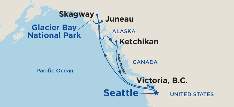 Roundtrip Alaska Cruise from Seattle 2019 - Princess Cruises on ketchican alaska, map of wasilla alaska, map of seward alaska, juneau alaska, map of naknek alaska, map of denali alaska, outline map of alaska, map of homer alaska, road map of alaska, map of vancouver bc, sitka alaska, map of alaska and canada, map of alaska inside passage, juno alaska, map of kotzebue alaska, large print map of alaska, map of hoonah alaska, map of southeast alaska, skagway alaska, map of craig alaska,