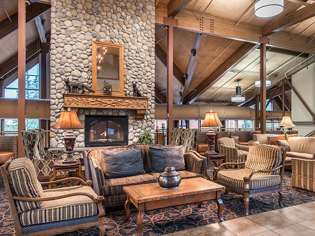 Relax in the lobby at Denali Princess Wilderness Lodge