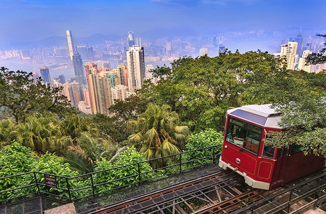 The Peak Tram, a 120-year old funicular railway to Victoria Peak in Hong Kong