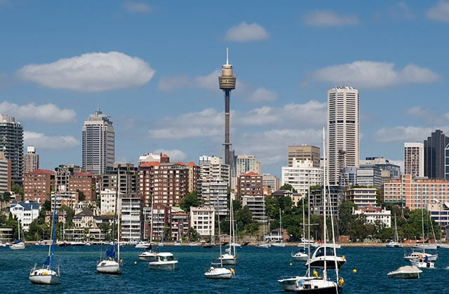 The Sydney Tower with a view of the city