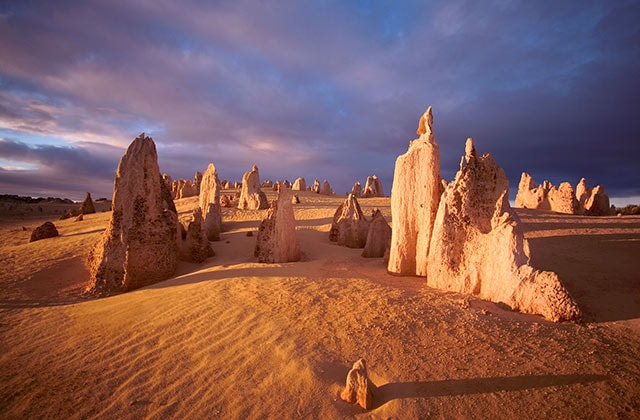at sunset in the Pinnacles Desert in Perth's Nambung National Park