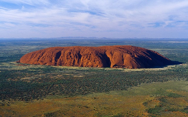 An aerial view of Uluru in Australia Outback Adventures