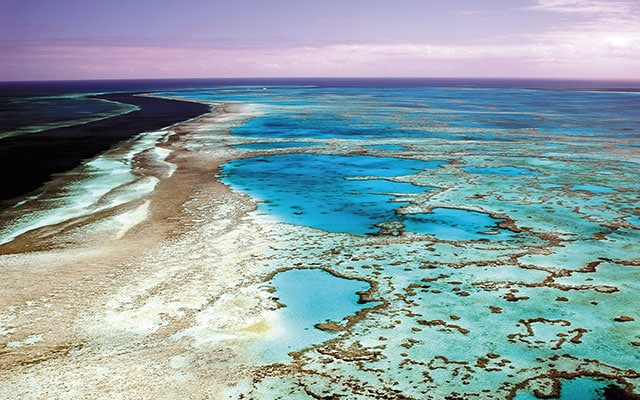 An aerial view of the great barrier reef in Australia