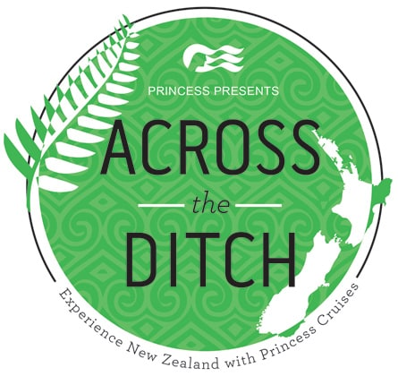 Green circle logo with the words princess presents across the ditch experience new zealand with princess cruises