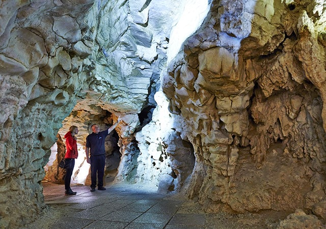 group walking in the Waitomo Glowworm Caves