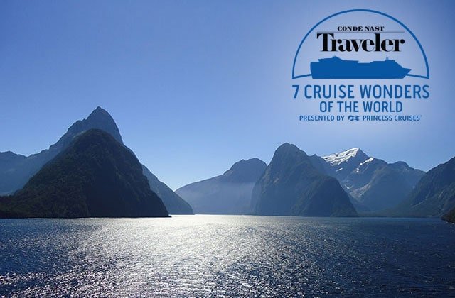 conde nast traveler 7 cruise wonders of the world presented by princess cruises logo - A bird's-eye view of Fiordland National Park